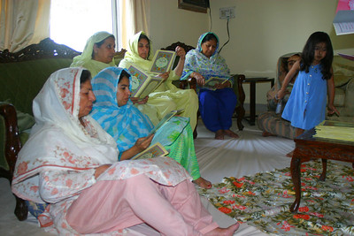 Everyone congregated in out living room to read the Quran.