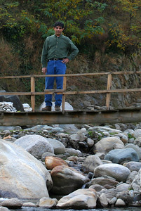 One of the bridges in Jabori crossing the river which is low at this time of the year.