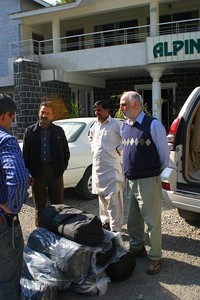 We unloaded the tents at the Mercy Corp logistics warehouse at the Alpine Hotel in Abbotabad