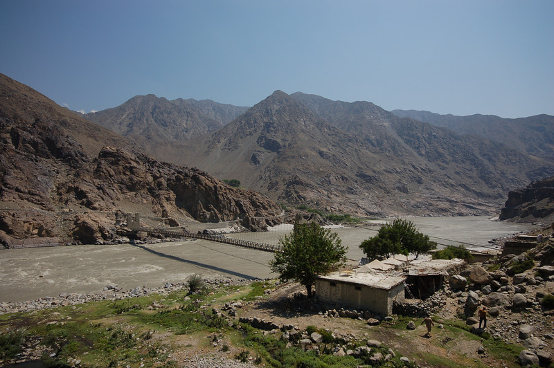 Bridges over the Indus River at a pit stop on the way to Gilgit