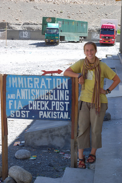 Emilie at the immigration check post in Pakistan. Bye Bye Pakistan!