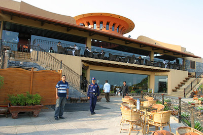 The restaurant at the scenic overlook on Margalla Hills.  Our security with us.