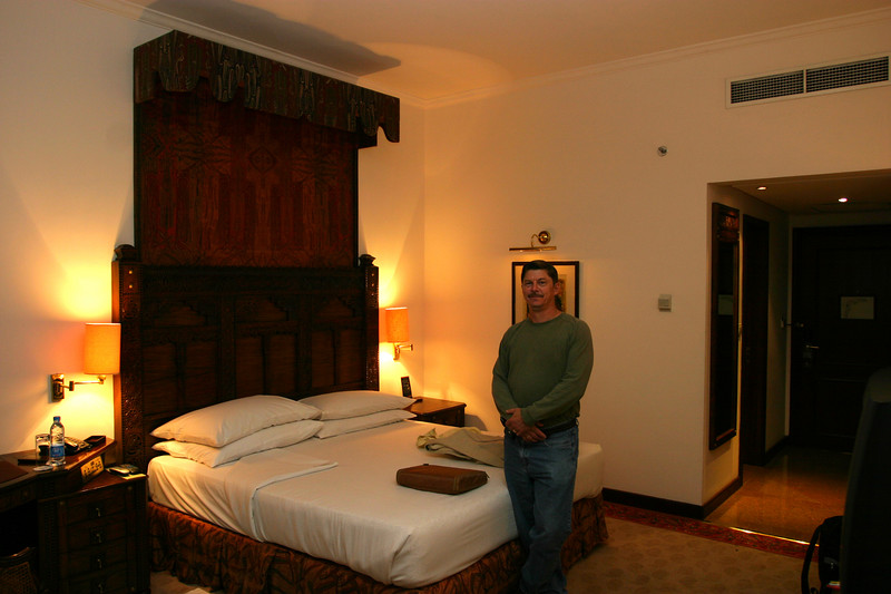 Dave in his prison at the Serena Hotel!  It was a very nice place, but he was never allowed to leave it!