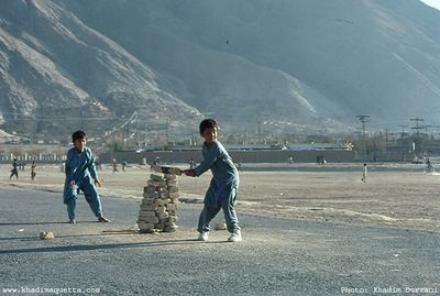 Hazara boys playing cricket.