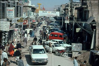 This is one of the Quetta Baazaars showing chaotic traffic and bustling streets.