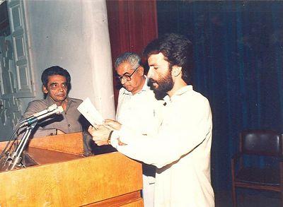 Taking oath as Press Secretary for Academic Staff Association (ASA), 1988-89, University of Balochistan, Quetta, Pakistan.