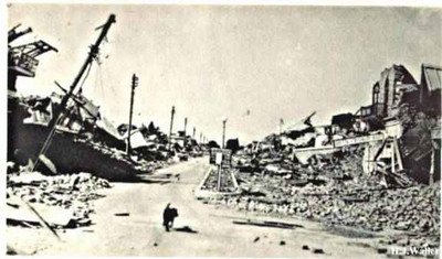 Bruce Street, now Jinnah Road, immediately after the earthquake!