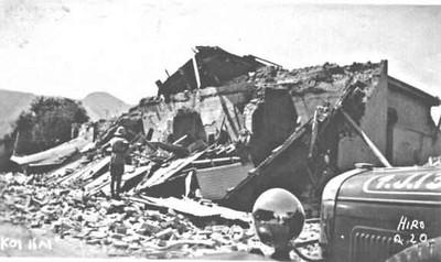 A British Officer surveying the ruins at Koi Kai.