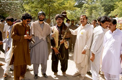 Dr Tawab Gul 3rd from right with his 'cultural' friends at the Golden Week festival of Balochistan University (Oct. 1994?).