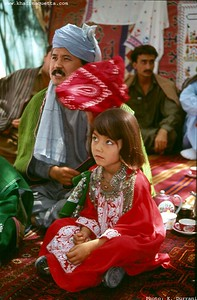 A Hazara girl getting ready for the cultural show of the Golden Week of Balochistan University (Oct. 1994).