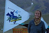Emilie poses with the official Shandur Polo Festival promotional flag