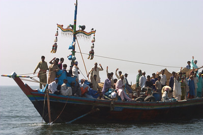 Fishing boats along the way.  They always waved and cheered.
