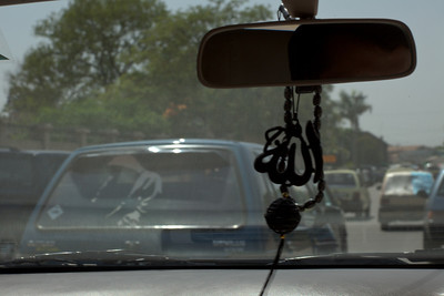 On the road in Pakistani traffic.