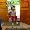 Zainab is over usually before Asad (since he has to go to school!)  Here she is demonstrating her ability to jump from the threshold....there to hold back monsoon flooding.