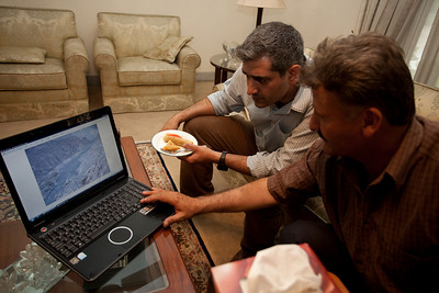 Ayub Raja visiting.  He was showing us pictures of the new lake that has formed in Hunza.