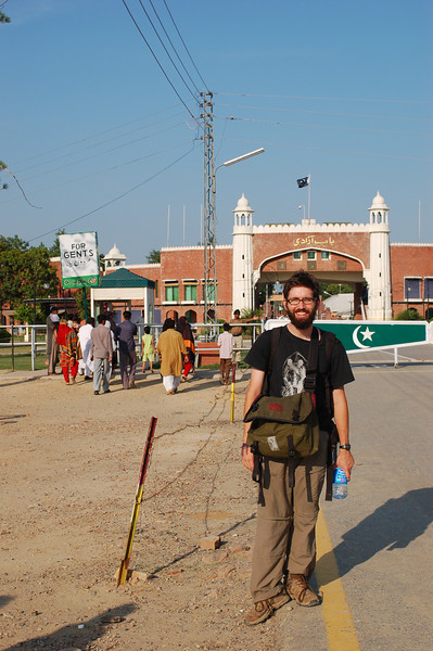 Yann on the Pakistan side of the Wagah border where he will sit with the gents for the ceremony.