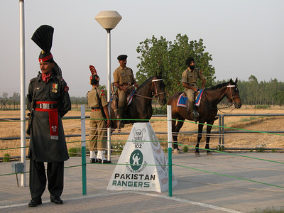 The Wagah border of Pakistan and India.