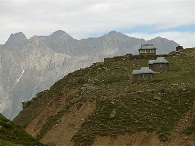 Stone homes on the mountain. Pakistan.