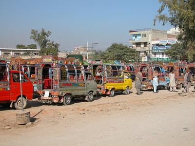Buses lined up in Rawalpindi, Pakistan.