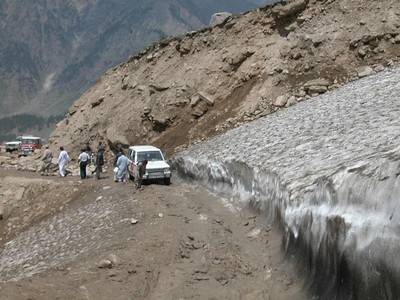 Muddy roads through melting glaciers make the road between the Kaghan Valley and Lake Saif-Ul-Malook in Pakistan adventurous.