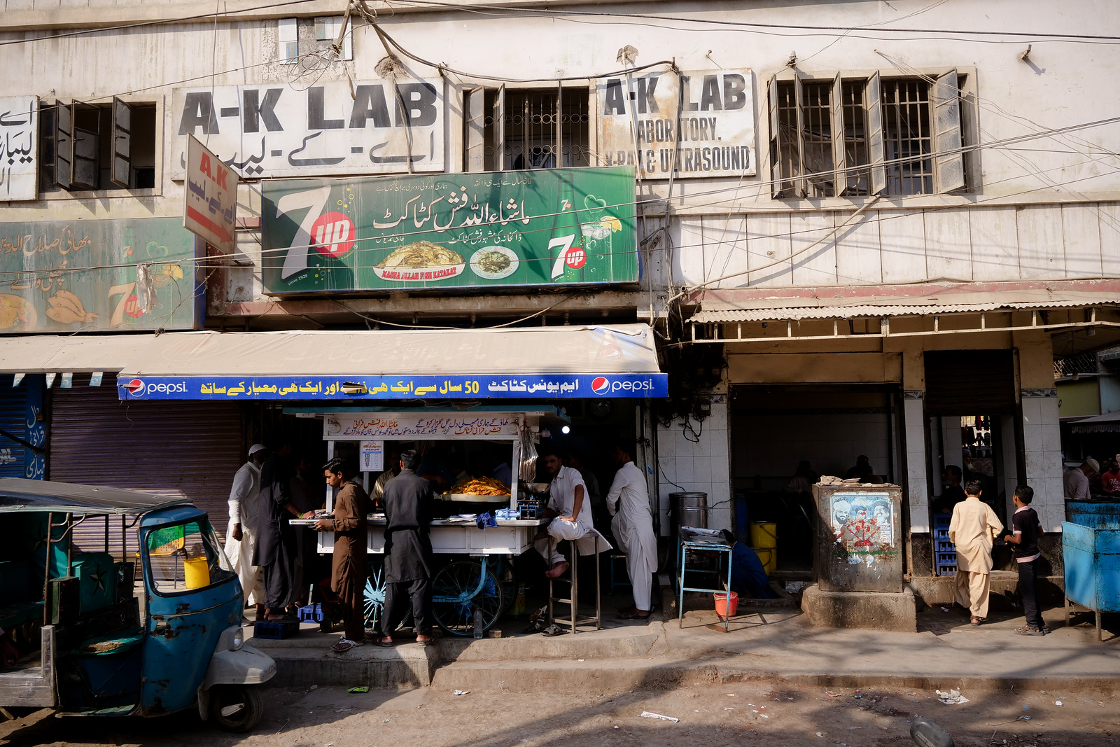 The original fish cart is still parked (and used) in front of Masha Allah restaurant