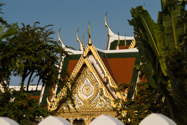 The Insignia of the King Rama IX on the East Pedimanet of Borom Ratchasathit Mahoran Throne Hall, Grand Palace