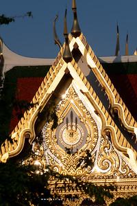 The Emblem of Chakri Dynasty on the West Pedimanet of Borom Ratchasathit Mahoran Throne Hall, Grand Palace