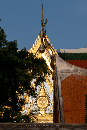 The Insignia of the King Rama IX on the West Pedimanet of Borom Ratchasathit Mahoran Throne Hall, Grand Palace