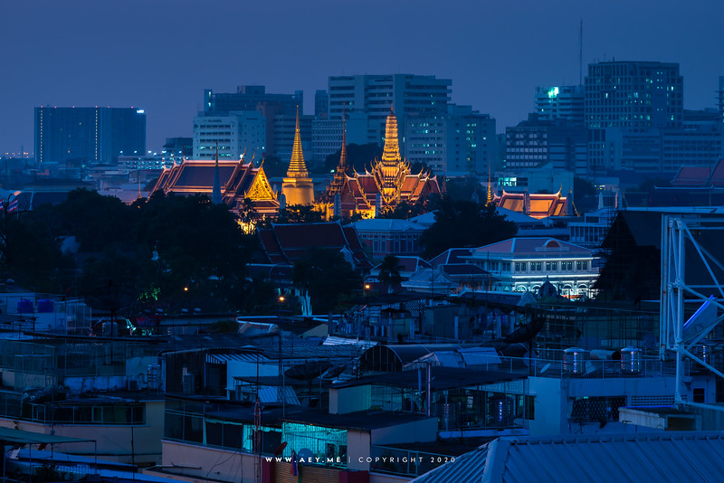 Twilight at Wat Phra Kaew, Grand Palace and the Old Area of Bangkok, view from the Old Siam Plaza