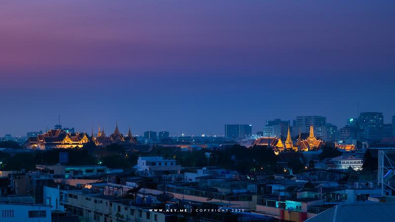 Twilight at Wat Phra Kaew (Wat Phra Si Rattana Satsadaram or Temple of the Emerald Buddha), Grand Palace and the Old Area of Bangkok