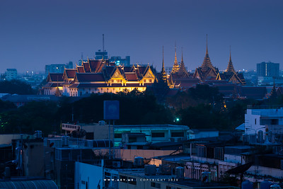 Twilight at the Grand Palace and the Old Area of Bangkok