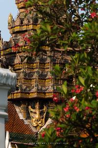 Garuda Nagas at the base of the Spire of Phra Thinang Siwalai Maha Prasat, Grand Palace