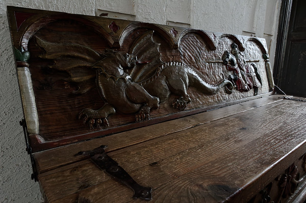 Knight in pursuit of a dragon, furniture relief