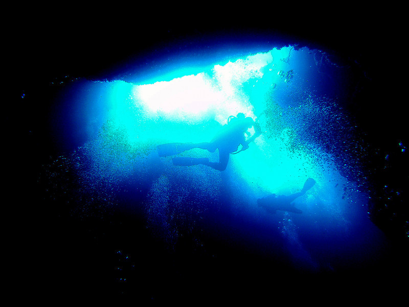 Looking from the cavern up toward two divers swimming in the light of one of the blue holes above.