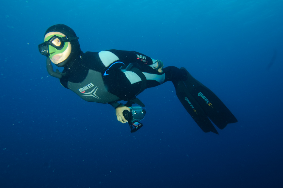 World Record Holding Freediver Ai Futaki mugging for the camera in Palau