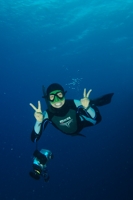 World Record Holding Freediver Ai Futaki being a Japanese tourist underwater