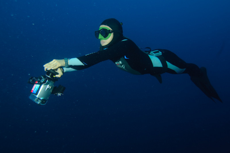 World Record Holding Freediver Ai Futaki mugging for the camera in Palau