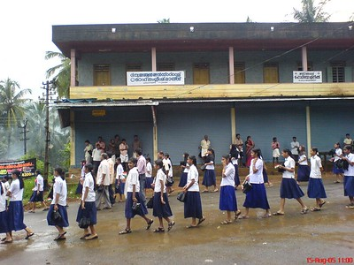 School students' rally crossing small town in my village on occasion of Independence Day, St. John's High School Palavayal