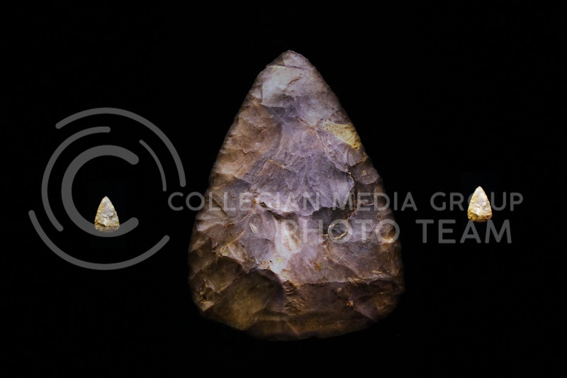 The Marianna Kisler Beach Museum of Art is holding an installation by David Lebrun titled ,Reanimating the Past, that didplays 45 Paleolithic Handaxes. (Sophie Osborn | Collegian Media Group)