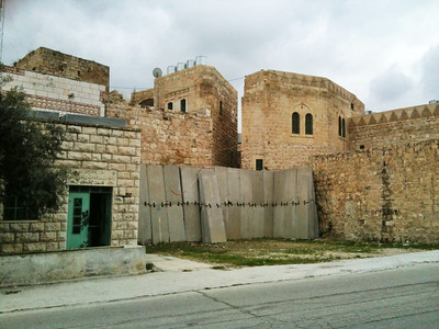 Mosque, separation barrier, Hebron (Khalil)