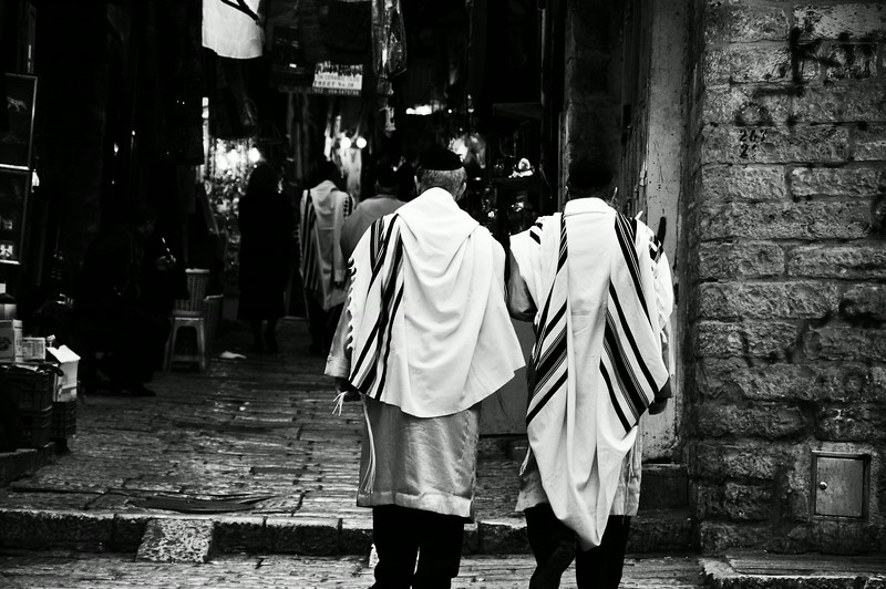 Returning from prayer at the Western Wall - The Old City in Jerusalem, Palestine/Israel