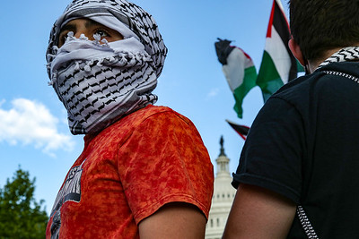 Pro-Palestine demonstrators march at the U.S. Capitol