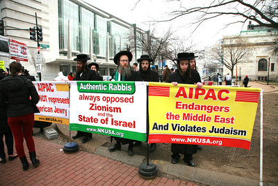 Protest at Sunday's annual Aipac Conference.