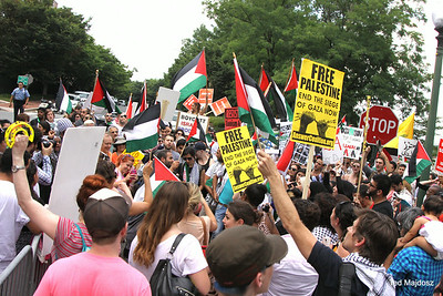 Several hundred protesters showed up at the Israeli Embassy in D.C. to protest Israel's violent attack on the Palestinian people.