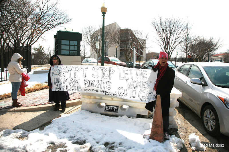 Was a chilly morning at the Egyptian Embassy about 30 people eventually showed up in support of Media