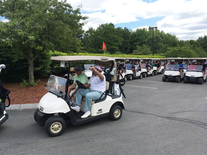 Gentlemen, start your engines: Golfers are off to enjoy a day of golf.