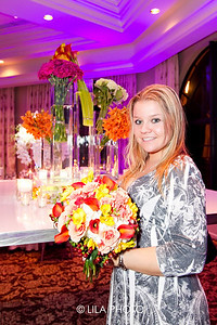 Bride to be, Rachel Dennis holding bouquet by Dalsimer Atlas