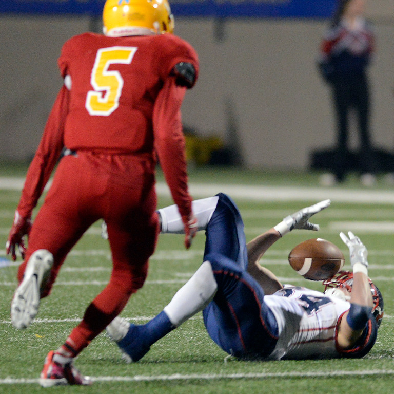 . Campolindo\'s Matthew Ringquist reels in a pass while falling to the ground during the Northern California Division 4 AA championship football game against Palma at Rabobank Stadium in Salinas on Friday December 9, 2016. (David Royal - Monterey Herald)