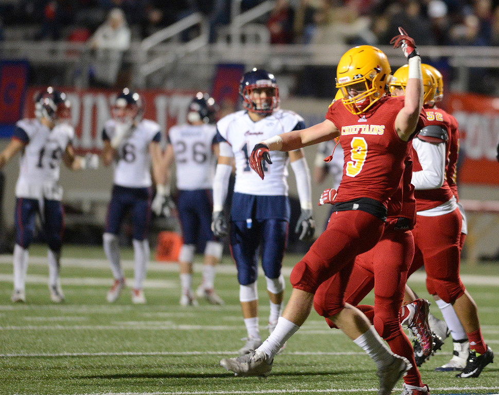 . Palma\'s Tristan Wahl reacts after forcing a fumble by Campolindo during the Northern California Division 4 AA championship football game at Rabobank Stadium in Salinas on Friday December 9, 2016. (David Royal - Monterey Herald)