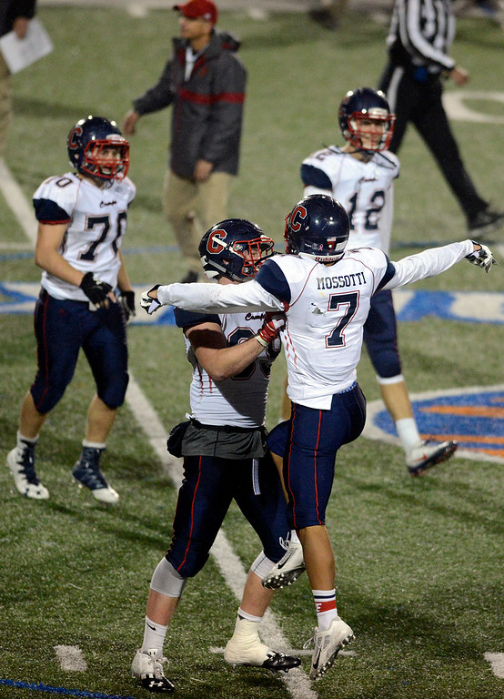 ". Campolindo\'s Raymond ""Joey\"" Berzins and Vincent Mossotti celebrate their win over Palma during the Northern California Division 4 AA championship football game at Rabobank Stadium in Salinas on Friday December 9, 2016. (David Royal - Monterey Herald)"